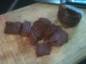 Here's how two frozen cubes of liver look on my cutting board, sliced and ready for use in any recipe.