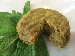 Here is a Turmeric-Infused Seed Cheese that has been dehydrated.  It has a crunchy, falafel-like texture on the outside and is firm but soft on the inside.  It is a strong, tangy cheese, and delicious.